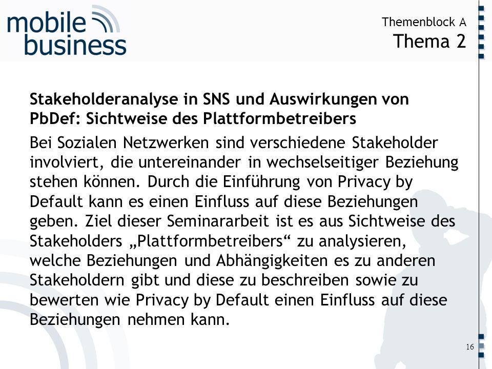 ……... Themenblock A Thema 2 16 Stakeholderanalyse in SNS und Auswirkungen von PbDef: Sichtweise des Plattformbetreibers Bei Sozialen Netzwerken sind v