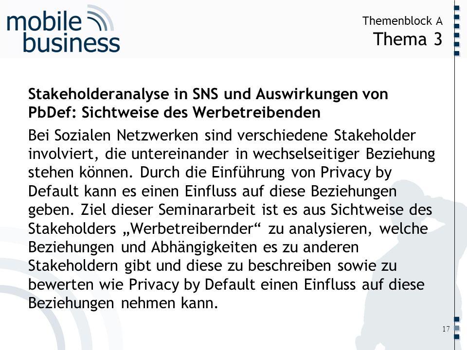 ……... Themenblock A Thema 3 17 Stakeholderanalyse in SNS und Auswirkungen von PbDef: Sichtweise des Werbetreibenden Bei Sozialen Netzwerken sind versc