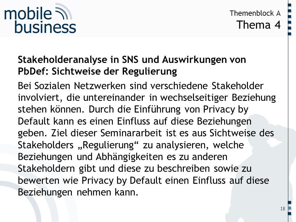 ……... Themenblock A Thema 4 18 Stakeholderanalyse in SNS und Auswirkungen von PbDef: Sichtweise der Regulierung Bei Sozialen Netzwerken sind verschied