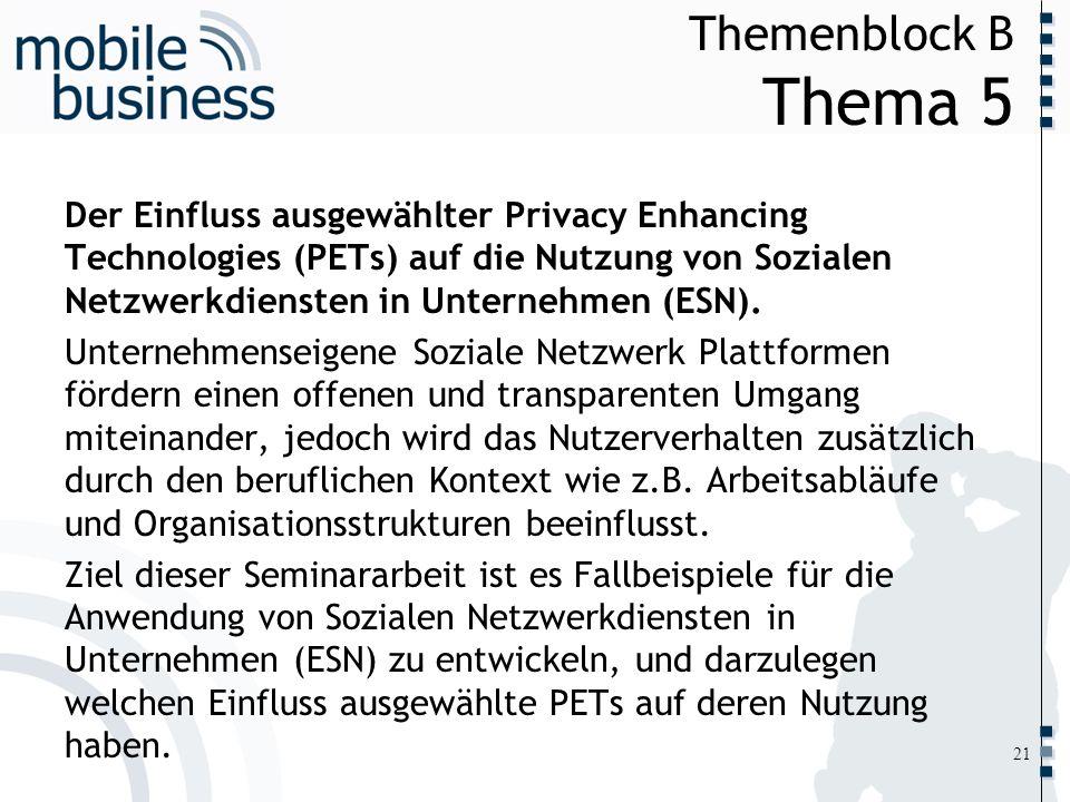 ……... Themenblock B Thema 5 21 Der Einfluss ausgewählter Privacy Enhancing Technologies (PETs) auf die Nutzung von Sozialen Netzwerkdiensten in Untern