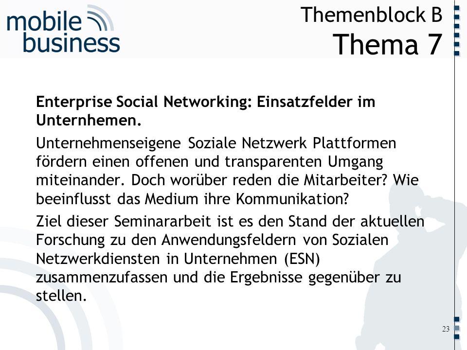 ……... Themenblock B Thema 7 23 Enterprise Social Networking: Einsatzfelder im Unternhemen. Unternehmenseigene Soziale Netzwerk Plattformen fördern ein