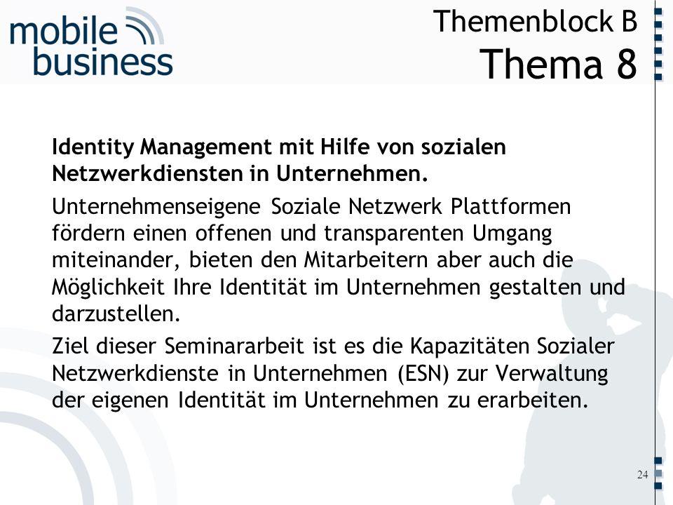 ……... Themenblock B Thema 8 24 Identity Management mit Hilfe von sozialen Netzwerkdiensten in Unternehmen. Unternehmenseigene Soziale Netzwerk Plattfo