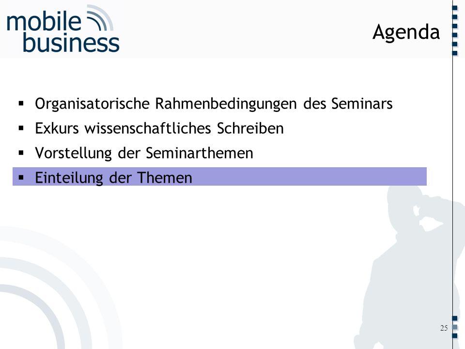 ……... Organisatorische Rahmenbedingungen des Seminars Exkurs wissenschaftliches Schreiben Vorstellung der Seminarthemen Einteilung der Themen Agenda 2