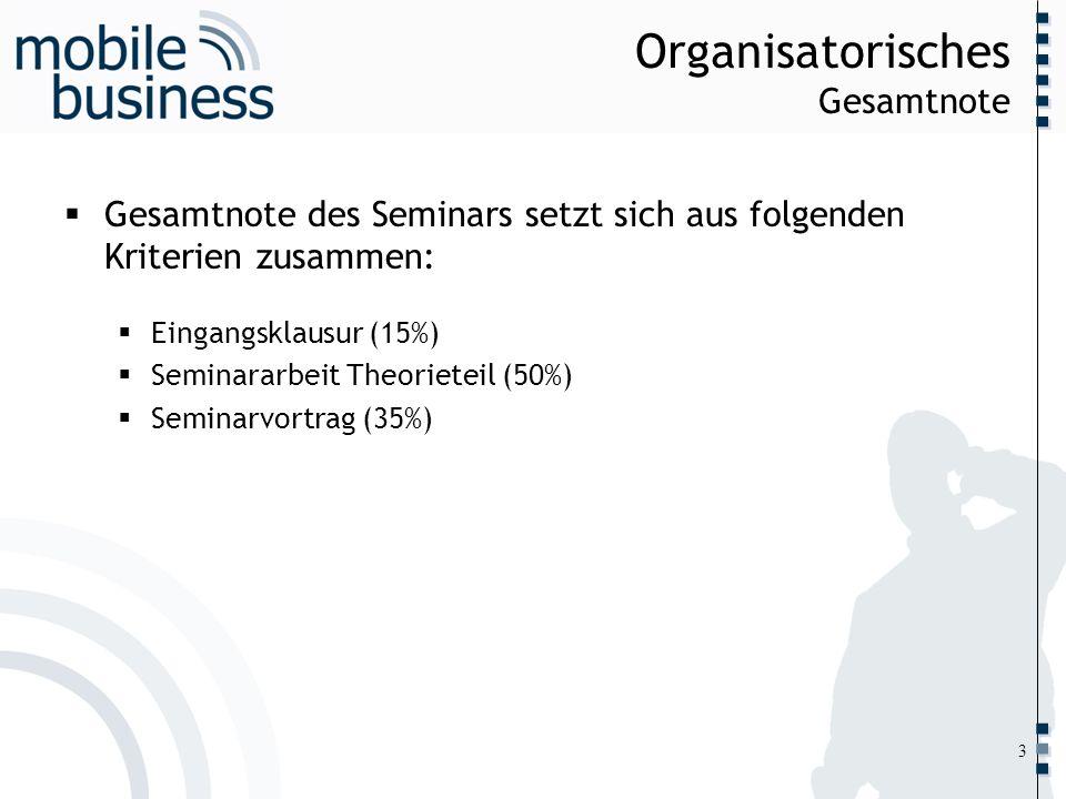 ……... Organisatorisches Gesamtnote Gesamtnote des Seminars setzt sich aus folgenden Kriterien zusammen: Eingangsklausur (15%) Seminararbeit Theorietei