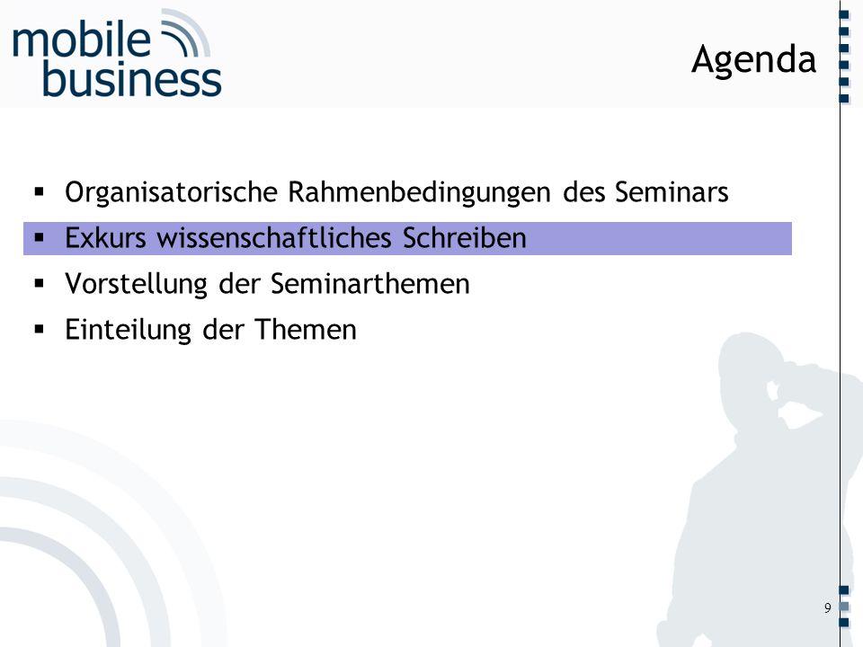 ……... Organisatorische Rahmenbedingungen des Seminars Exkurs wissenschaftliches Schreiben Vorstellung der Seminarthemen Einteilung der Themen Agenda 9