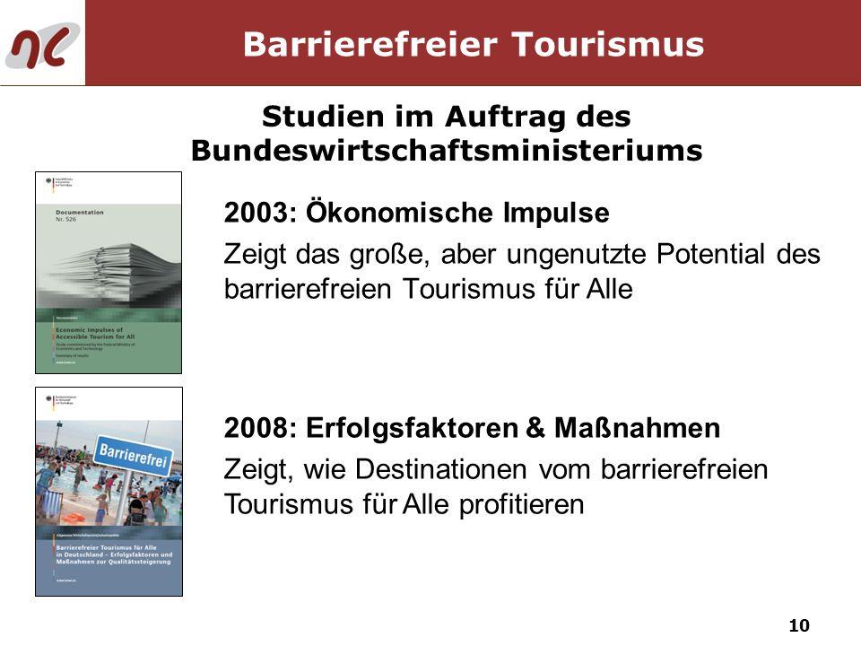 10 Barrierefreier Tourismus 2003: Ökonomische Impulse Zeigt das große, aber ungenutzte Potential des barrierefreien Tourismus für Alle Studien im Auft
