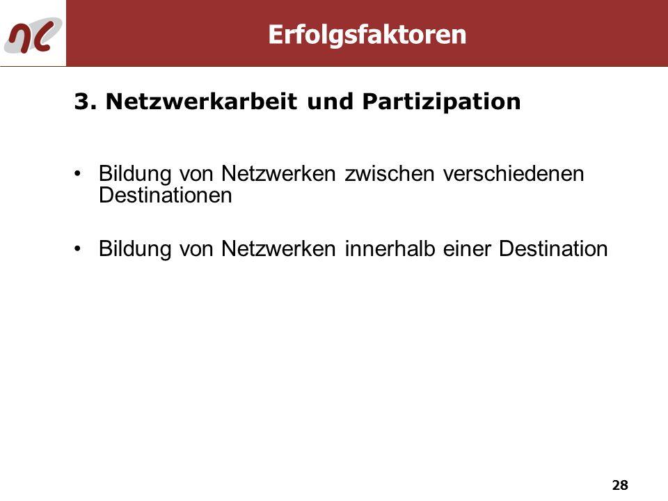 28 Bildung von Netzwerken zwischen verschiedenen Destinationen Bildung von Netzwerken innerhalb einer Destination 3. Netzwerkarbeit und Partizipation
