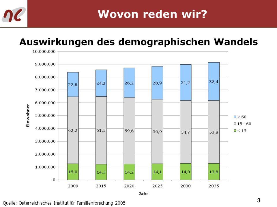 3 Wovon reden wir? Auswirkungen des demographischen Wandels Quelle: Österreichisches Institut für Familienforschung 2005