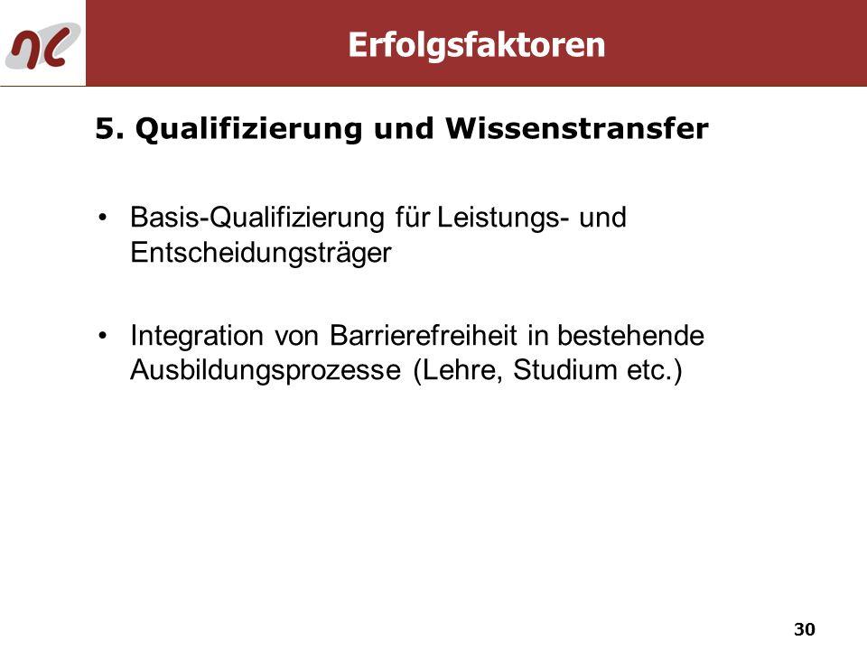 30 Basis-Qualifizierung für Leistungs- und Entscheidungsträger Integration von Barrierefreiheit in bestehende Ausbildungsprozesse (Lehre, Studium etc.