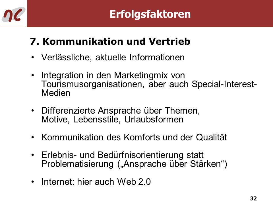 32 Verlässliche, aktuelle Informationen Integration in den Marketingmix von Tourismusorganisationen, aber auch Special-Interest- Medien Differenzierte