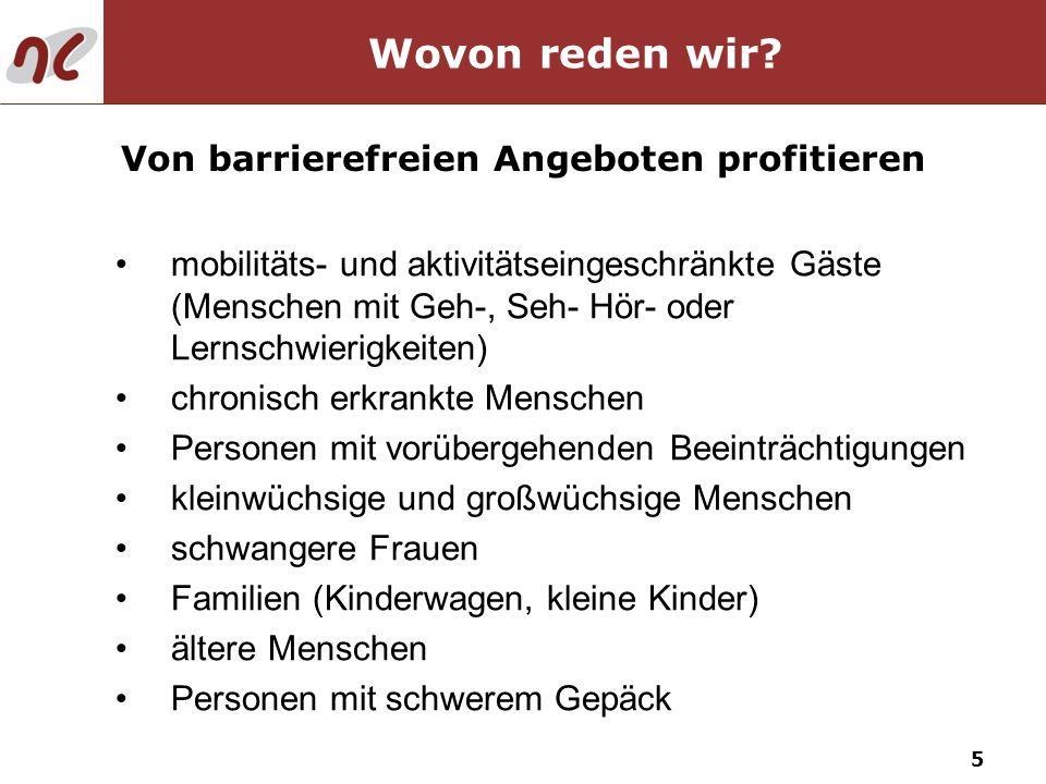 16 37 % haben bereits wegen fehlender Angebote auf eine Reise verzichtet 17 % reisen wegen besserer barrierefreier Angebote ins Ausland 48 % würden bei besseren Angeboten häufiger verreisen 60 % sind bereit, für barrierefreie Angebote höhere Preise zu zahlen Reiseverhalten mobilitäts- und aktivitätseingeschränkter Deutscher Nachfrage