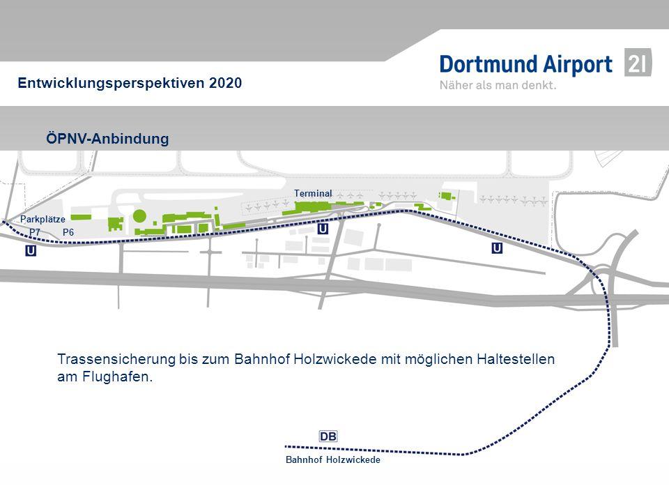 ÖPNV-Anbindung Entwicklungsperspektiven 2020 Bahnhof Holzwickede Parkplätze P7 Terminal P6 Trassensicherung bis zum Bahnhof Holzwickede mit möglichen
