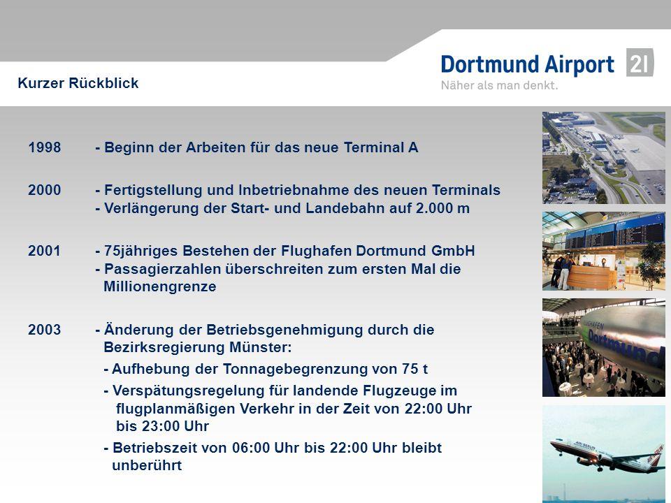 1998 - Beginn der Arbeiten für das neue Terminal A 2000 - Fertigstellung und Inbetriebnahme des neuen Terminals - Verlängerung der Start- und Landebah