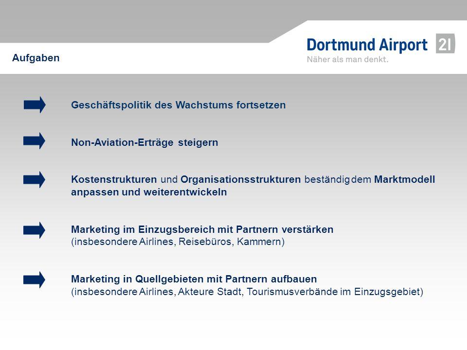 Geschäftspolitik des Wachstums fortsetzen Non-Aviation-Erträge steigern Kostenstrukturen und Organisationsstrukturen beständigdem Marktmodell anpassen