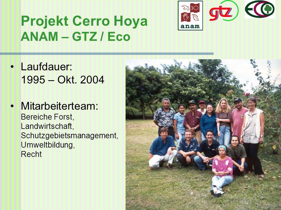 Projekt Cerro Hoya ANAM – GTZ / Eco Laufdauer: 1995 – Okt. 2004 Mitarbeiterteam: Bereiche Forst, Landwirtschaft, Schutzgebietsmanagement, Umweltbildun