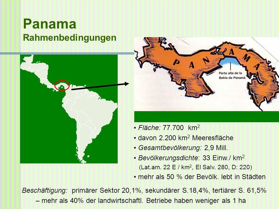 Panama Rahmenbedingungen Fläche: 77.700 km 2 davon 2.200 km 2 Meeresfläche Gesamtbevölkerung: 2,9 Mill. Bevölkerungsdichte: 33 Einw./ km 2 (Lat.am. 22