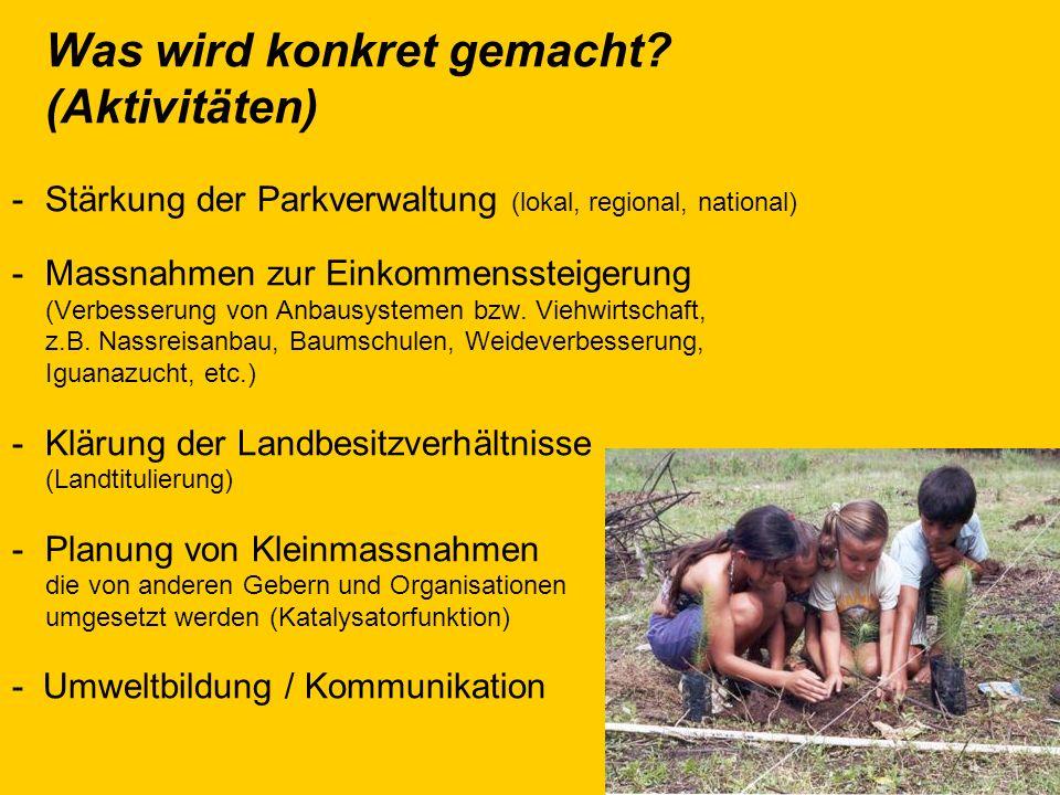 Was wird konkret gemacht? (Aktivitäten) -Stärkung der Parkverwaltung (lokal, regional, national) -Massnahmen zur Einkommenssteigerung (Verbesserung vo