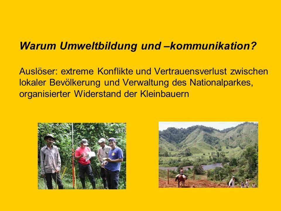 Warum Umweltbildung und –kommunikation? Auslöser: extreme Konflikte und Vertrauensverlust zwischen lokaler Bevölkerung und Verwaltung des Nationalpark