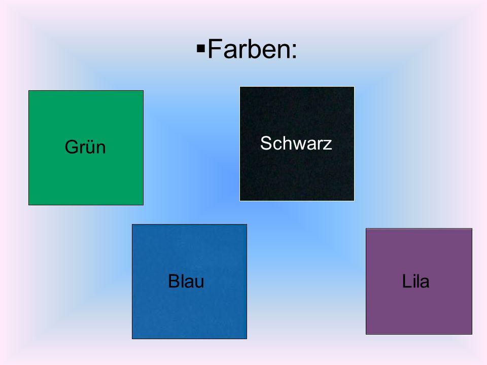 Farben: Grün Blau Schwarz Lila