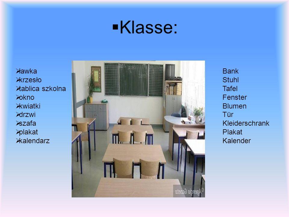 Klasse: ławka krzesło tablica szkolna okno kwiatki drzwi szafa plakat kalendarz Bank Stuhl Tafel Fenster Blumen Tür Kleiderschrank Plakat Kalender
