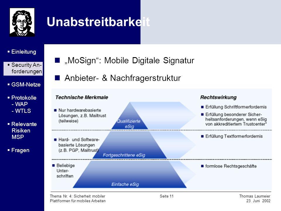 Thema Nr. 4: Sicherheit mobiler Seite 11 Thomas Laumeier Plattformen für mobiles Arbeiten 23. Juni 2002 Unabstreitbarkeit MoSign: Mobile Digitale Sign