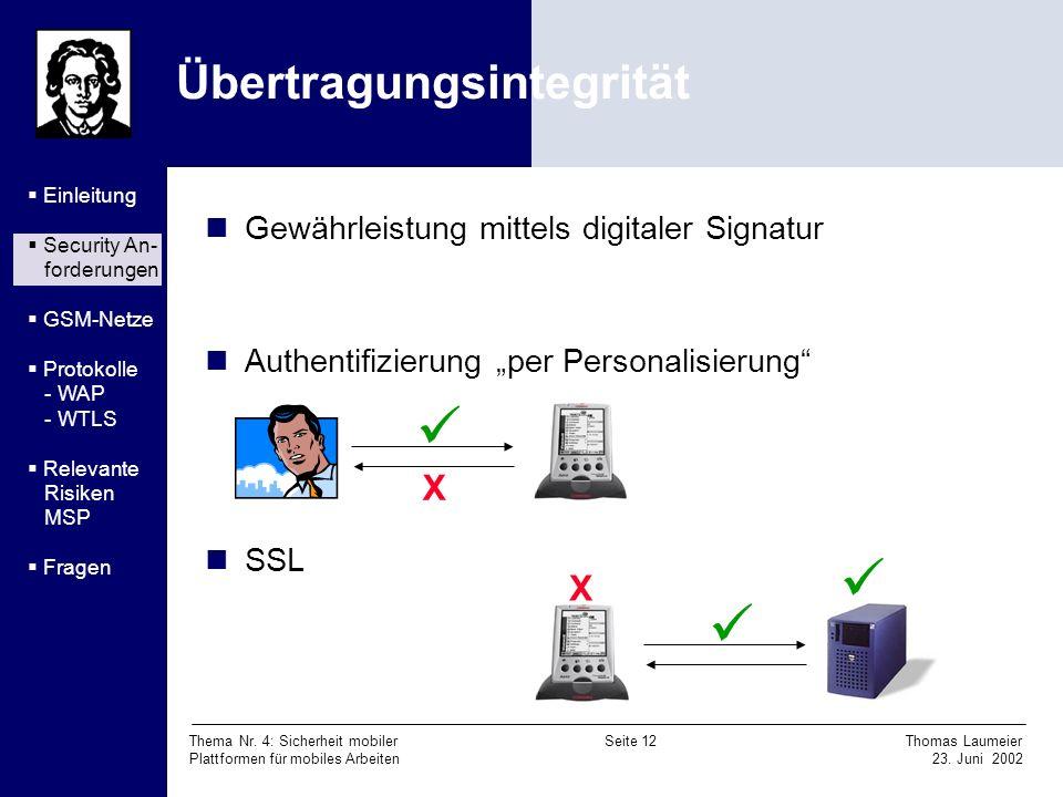 Thema Nr. 4: Sicherheit mobiler Seite 12 Thomas Laumeier Plattformen für mobiles Arbeiten 23. Juni 2002 Übertragungsintegrität Gewährleistung mittels