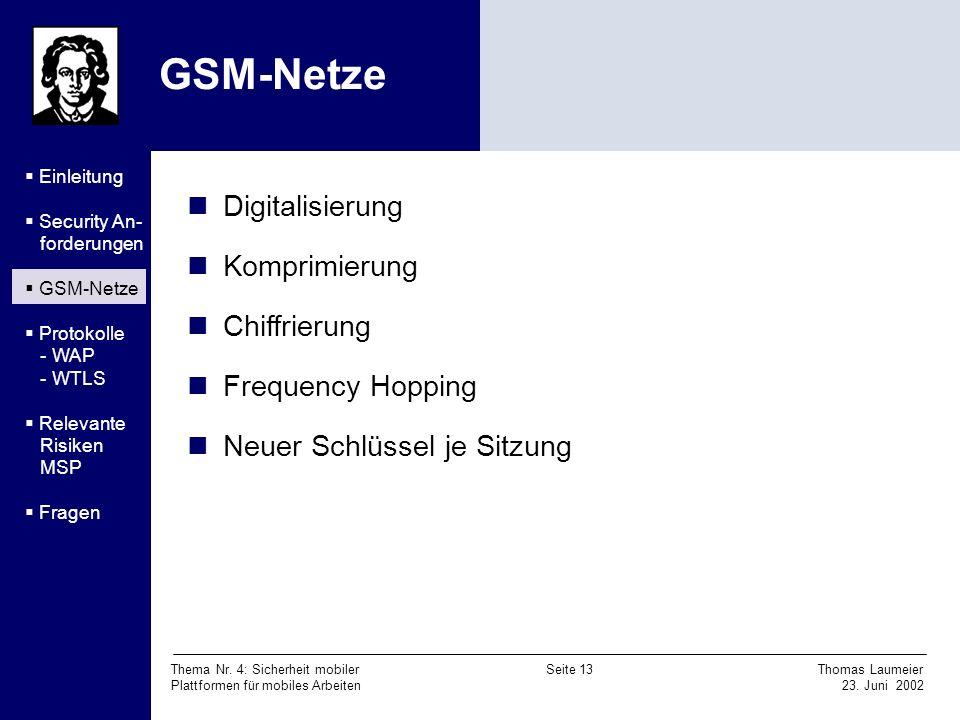 Thema Nr. 4: Sicherheit mobiler Seite 13 Thomas Laumeier Plattformen für mobiles Arbeiten 23. Juni 2002 GSM-Netze Digitalisierung Komprimierung Chiffr