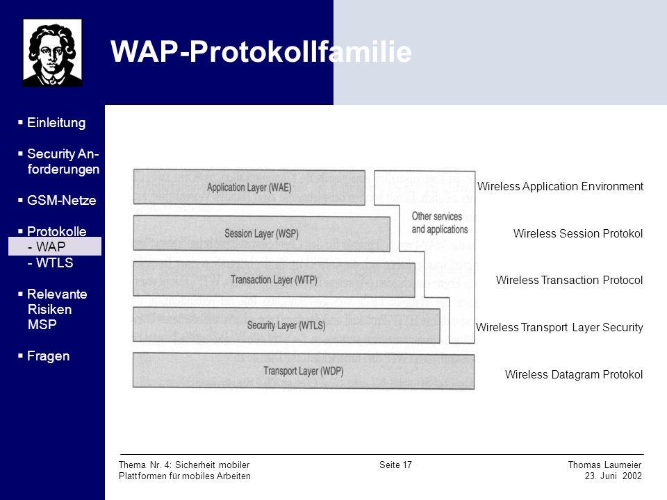 Thema Nr. 4: Sicherheit mobiler Seite 17 Thomas Laumeier Plattformen für mobiles Arbeiten 23. Juni 2002 WAP-Protokollfamilie Wireless Application Envi