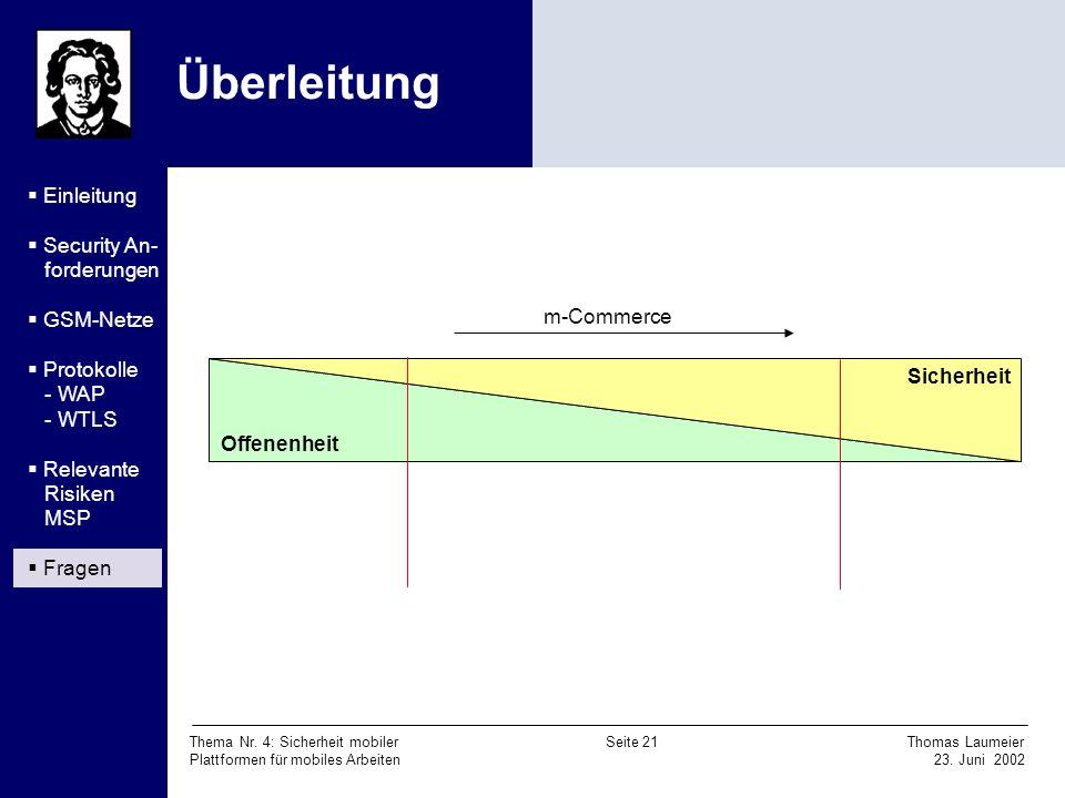 Thema Nr. 4: Sicherheit mobiler Seite 21 Thomas Laumeier Plattformen für mobiles Arbeiten 23. Juni 2002 Überleitung Offenenheit Sicherheit m-Commerce