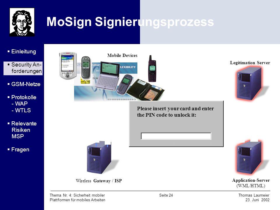Thema Nr. 4: Sicherheit mobiler Seite 24 Thomas Laumeier Plattformen für mobiles Arbeiten 23. Juni 2002 MoSign Signierungsprozess Signature Authorized