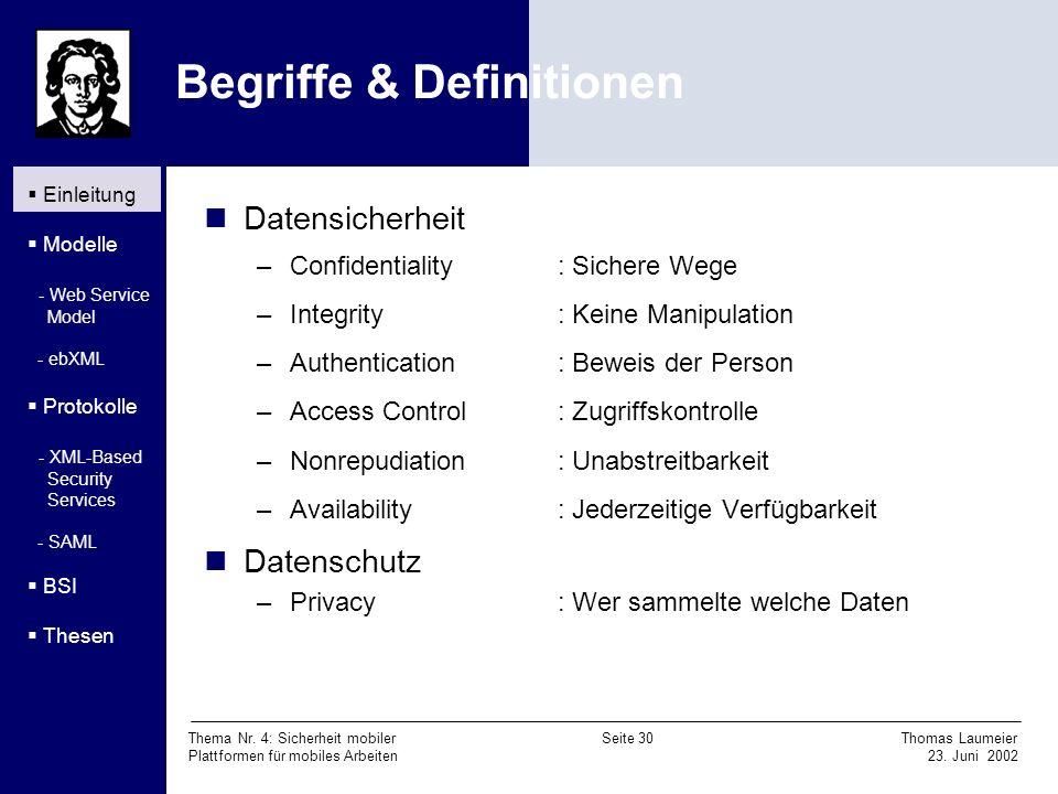 Thema Nr. 4: Sicherheit mobiler Seite 30 Thomas Laumeier Plattformen für mobiles Arbeiten 23. Juni 2002 Begriffe & Definitionen Datensicherheit –Confi