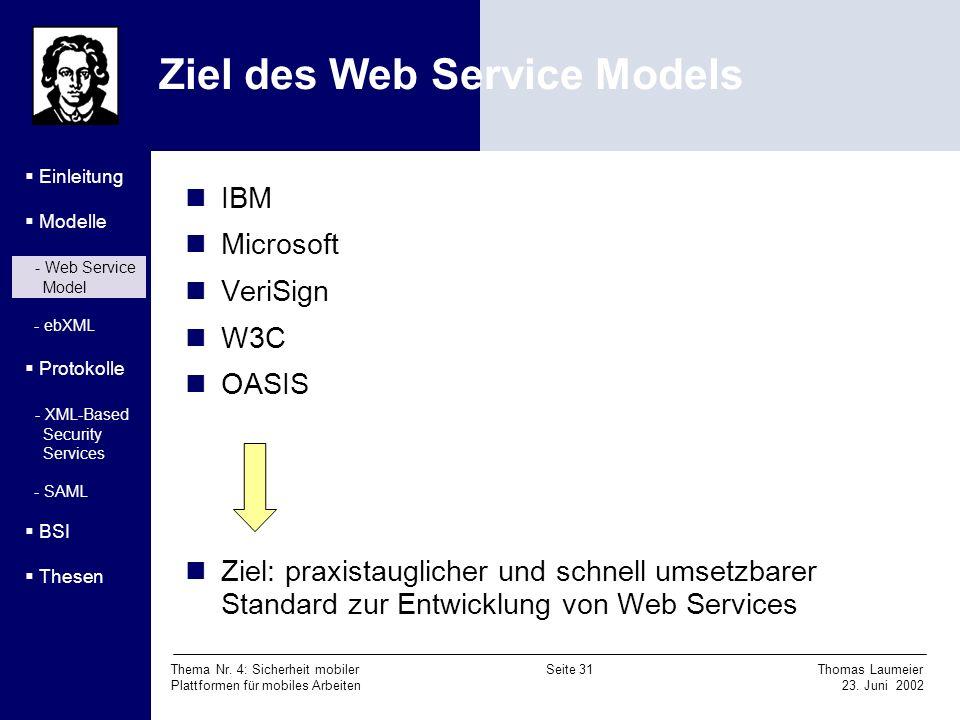 Thema Nr. 4: Sicherheit mobiler Seite 31 Thomas Laumeier Plattformen für mobiles Arbeiten 23. Juni 2002 Ziel des Web Service Models Einleitung Modelle