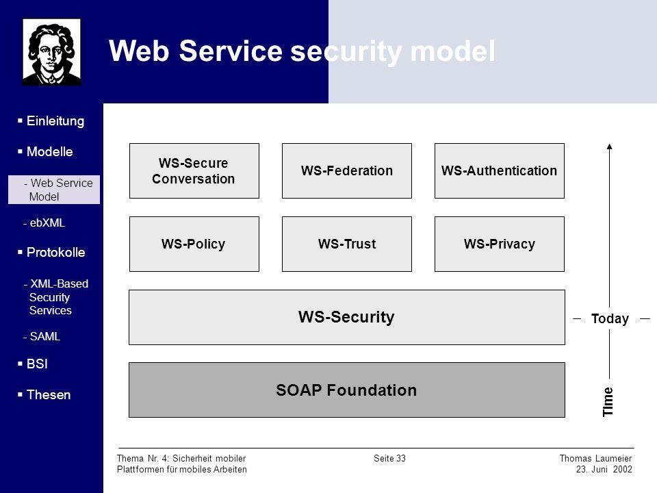 Thema Nr. 4: Sicherheit mobiler Seite 33 Thomas Laumeier Plattformen für mobiles Arbeiten 23. Juni 2002 Web Service security model Einleitung Modelle