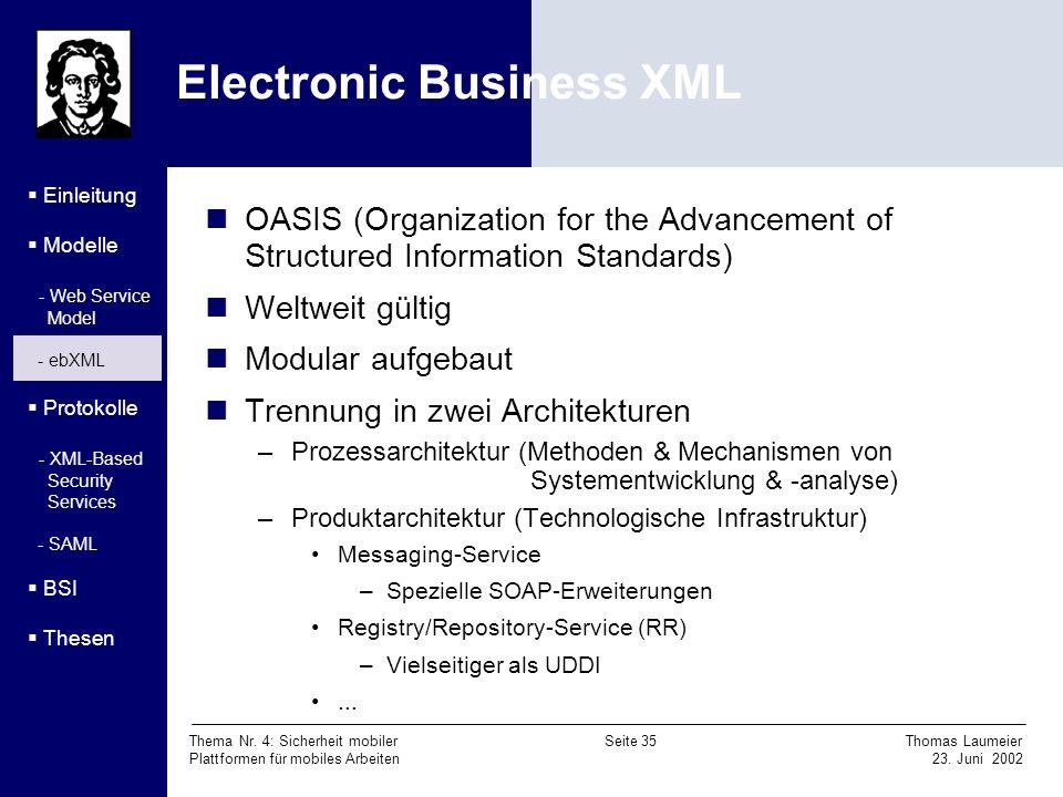 Thema Nr. 4: Sicherheit mobiler Seite 35 Thomas Laumeier Plattformen für mobiles Arbeiten 23. Juni 2002 Electronic Business XML Einleitung Modelle - W