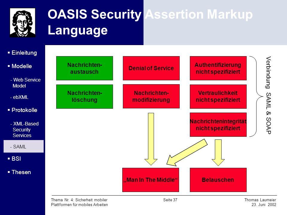 Thema Nr. 4: Sicherheit mobiler Seite 37 Thomas Laumeier Plattformen für mobiles Arbeiten 23. Juni 2002 OASIS Security Assertion Markup Language Einle
