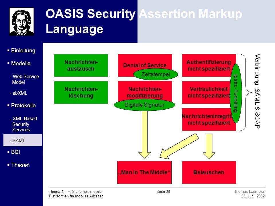 Thema Nr. 4: Sicherheit mobiler Seite 38 Thomas Laumeier Plattformen für mobiles Arbeiten 23. Juni 2002 OASIS Security Assertion Markup Language Einle