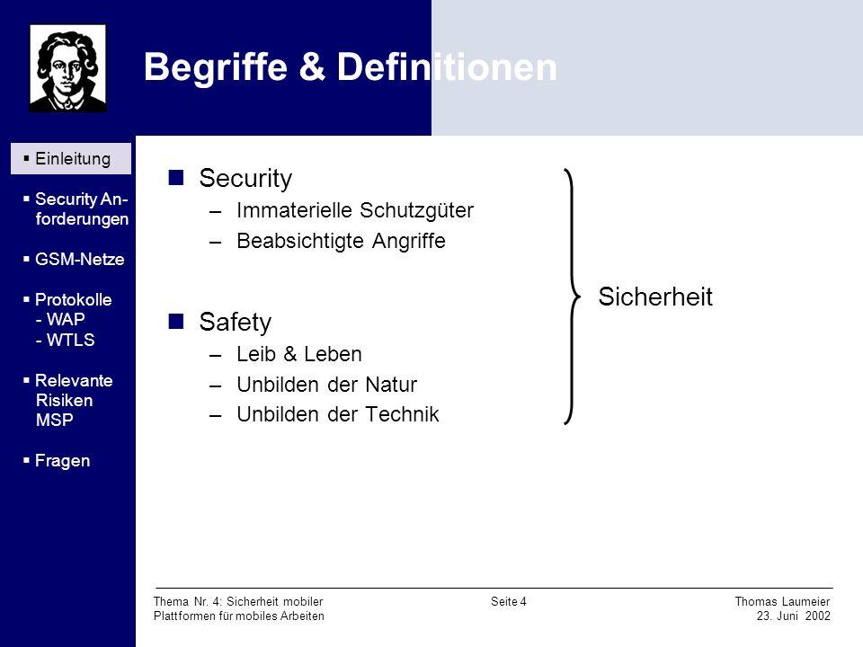 Thema Nr. 4: Sicherheit mobiler Seite 4 Thomas Laumeier Plattformen für mobiles Arbeiten 23. Juni 2002 Begriffe & Definitionen Security –Immaterielle
