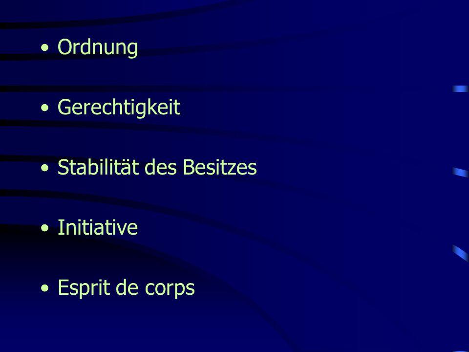 Ordnung Gerechtigkeit Stabilität des Besitzes Initiative Esprit de corps