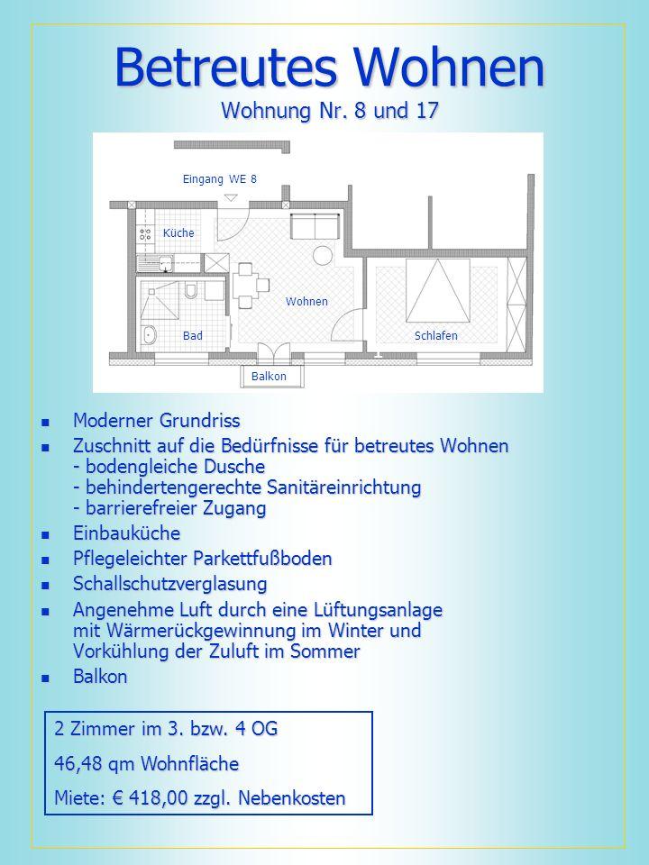 Betreutes Wohnen Wohnung Nr. 8 und 17 Moderner Grundriss Moderner Grundriss Zuschnitt auf die Bedürfnisse für betreutes Wohnen - bodengleiche Dusche -