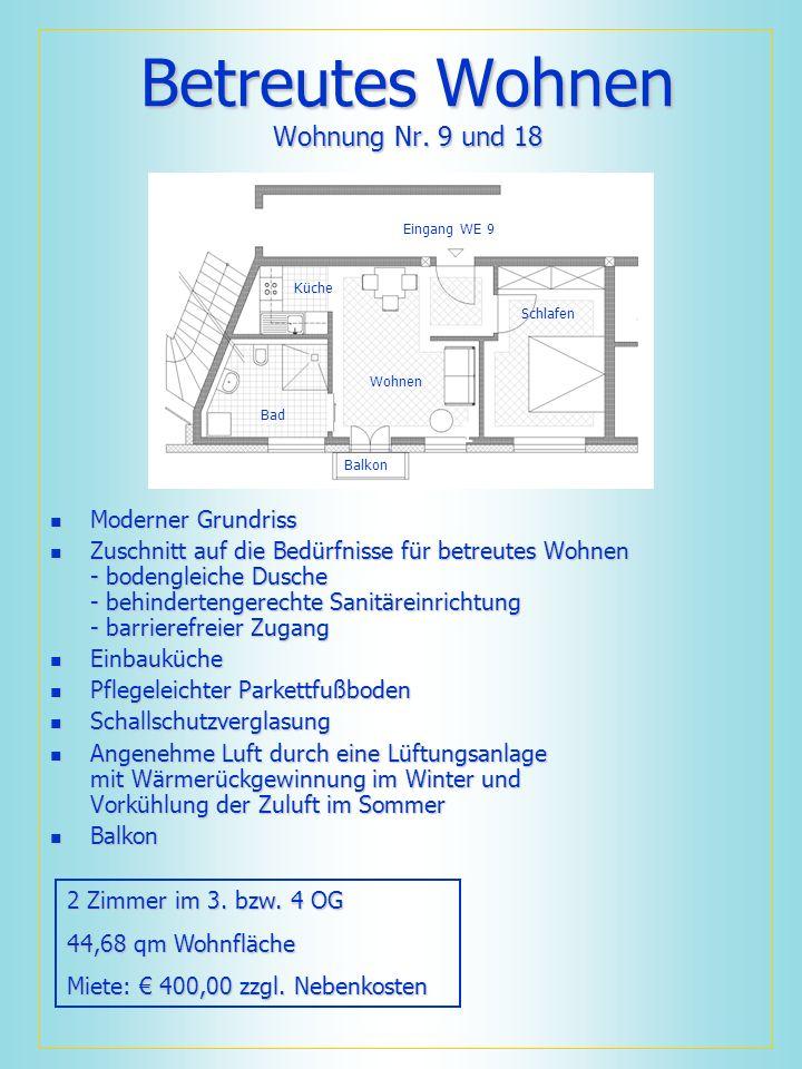 Betreutes Wohnen Wohnung Nr. 9 und 18 Moderner Grundriss Moderner Grundriss Zuschnitt auf die Bedürfnisse für betreutes Wohnen - bodengleiche Dusche -