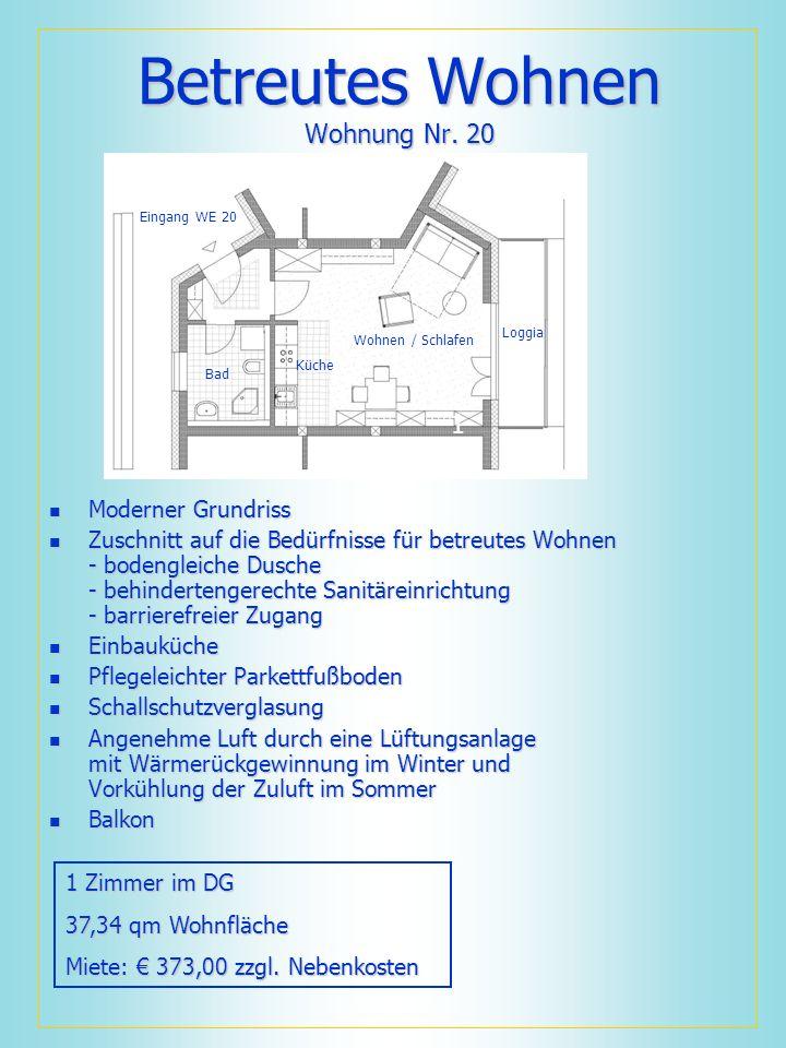 Betreutes Wohnen Wohnung Nr. 20 Moderner Grundriss Moderner Grundriss Zuschnitt auf die Bedürfnisse für betreutes Wohnen - bodengleiche Dusche - behin