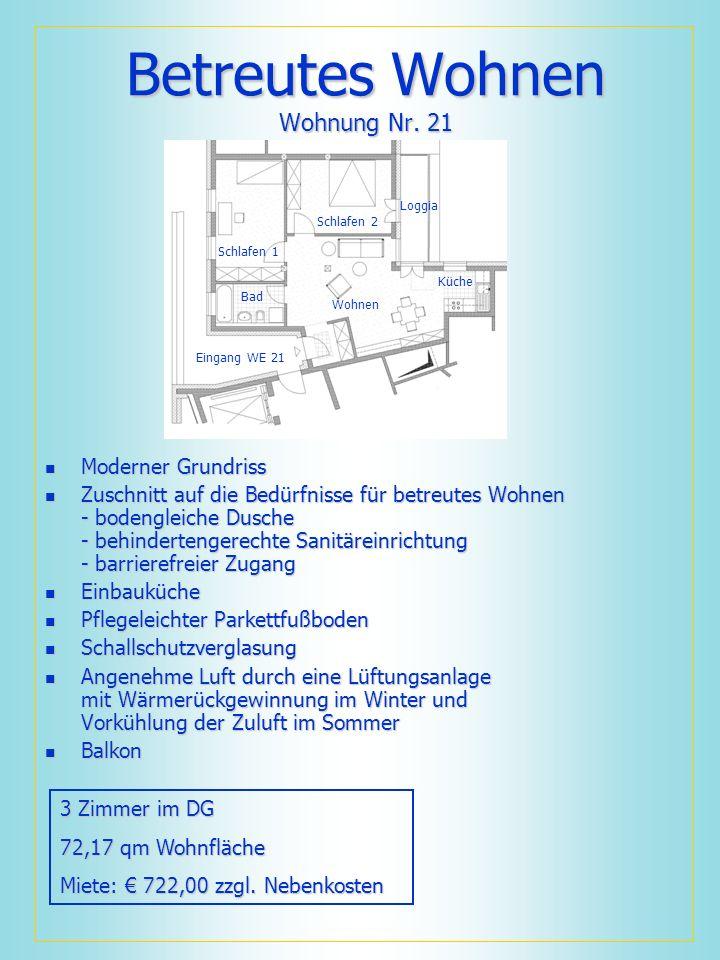 Betreutes Wohnen Wohnung Nr. 21 Moderner Grundriss Moderner Grundriss Zuschnitt auf die Bedürfnisse für betreutes Wohnen - bodengleiche Dusche - behin