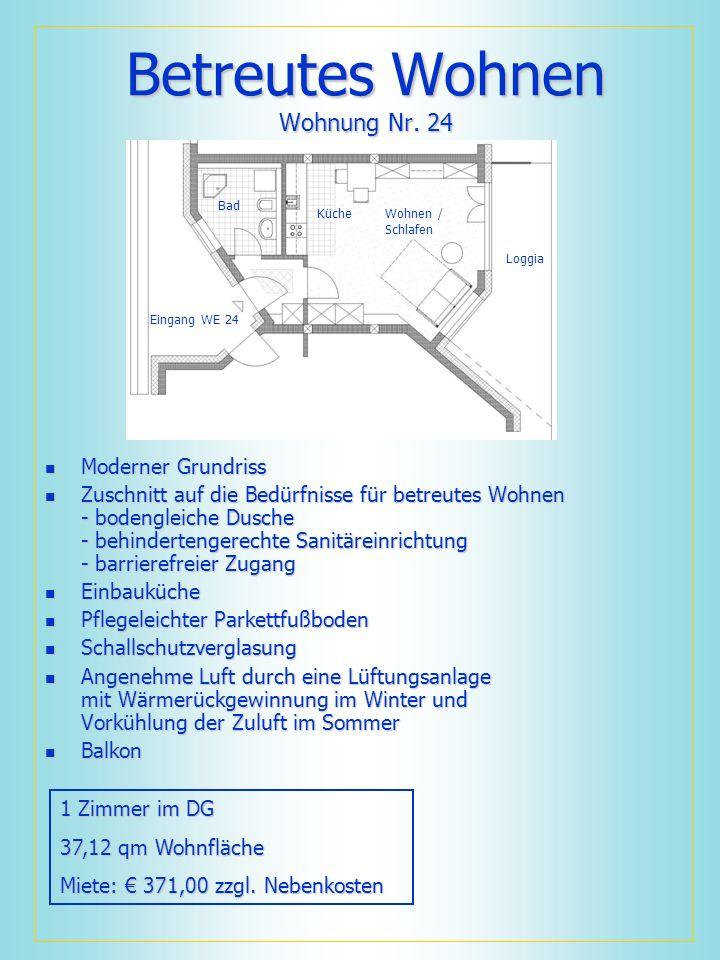 Betreutes Wohnen Wohnung Nr. 24 Moderner Grundriss Moderner Grundriss Zuschnitt auf die Bedürfnisse für betreutes Wohnen - bodengleiche Dusche - behin