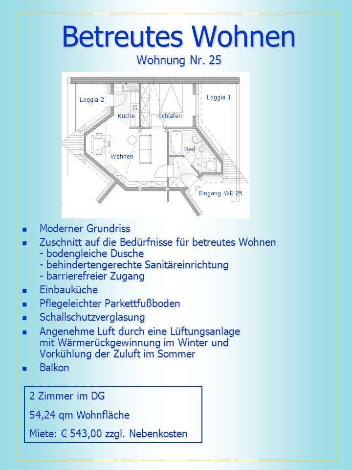 Betreutes Wohnen Wohnung Nr. 25 Moderner Grundriss Moderner Grundriss Zuschnitt auf die Bedürfnisse für betreutes Wohnen - bodengleiche Dusche - behin