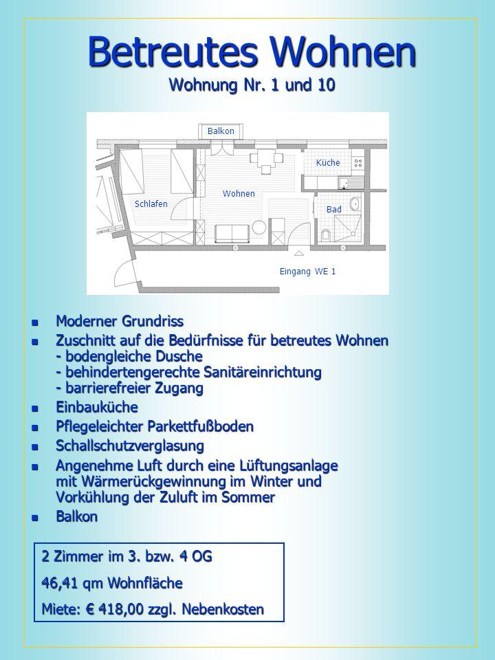 Betreutes Wohnen Wohnung Nr. 1 und 10 Moderner Grundriss Moderner Grundriss Zuschnitt auf die Bedürfnisse für betreutes Wohnen - bodengleiche Dusche -