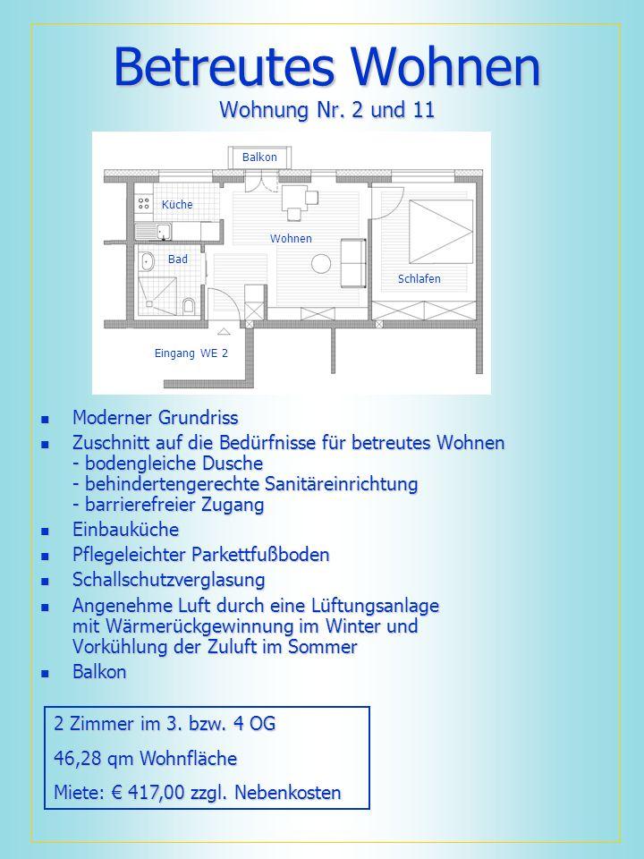 Betreutes Wohnen Wohnung Nr. 2 und 11 Moderner Grundriss Moderner Grundriss Zuschnitt auf die Bedürfnisse für betreutes Wohnen - bodengleiche Dusche -