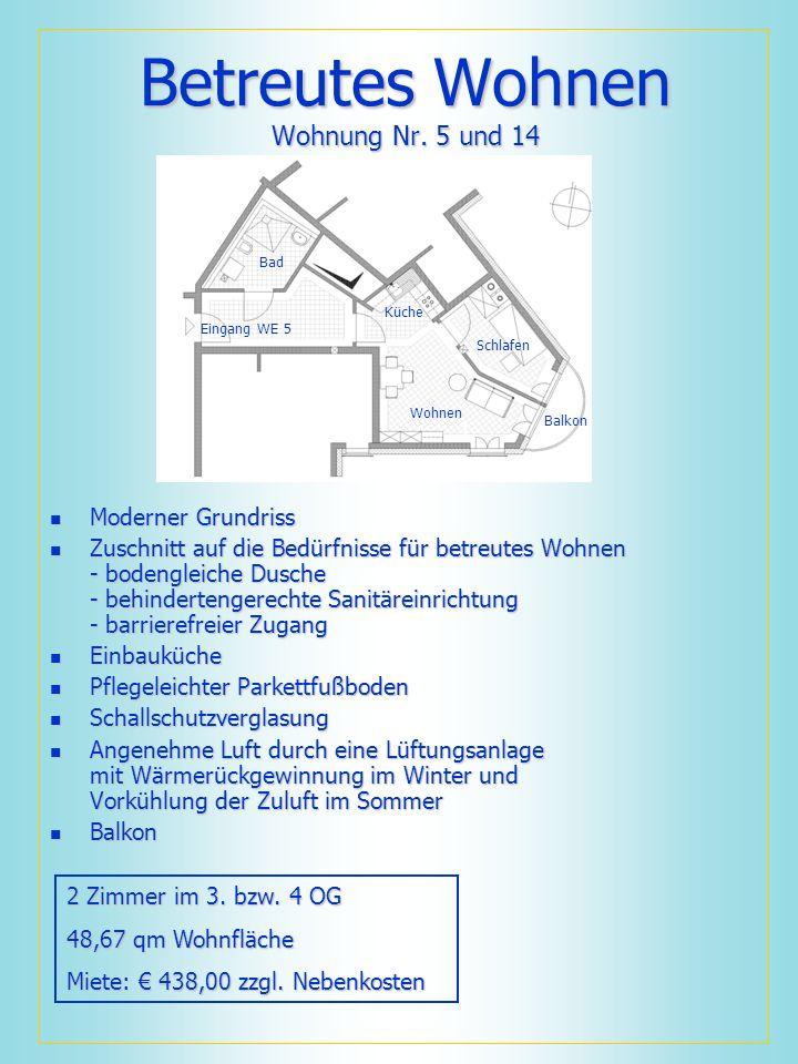 Betreutes Wohnen Wohnung Nr. 5 und 14 Moderner Grundriss Moderner Grundriss Zuschnitt auf die Bedürfnisse für betreutes Wohnen - bodengleiche Dusche -