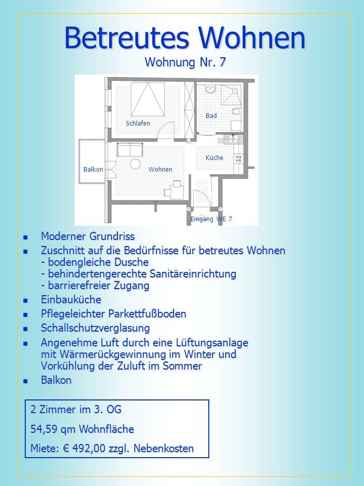 Betreutes Wohnen Wohnung Nr. 7 Moderner Grundriss Moderner Grundriss Zuschnitt auf die Bedürfnisse für betreutes Wohnen - bodengleiche Dusche - behind
