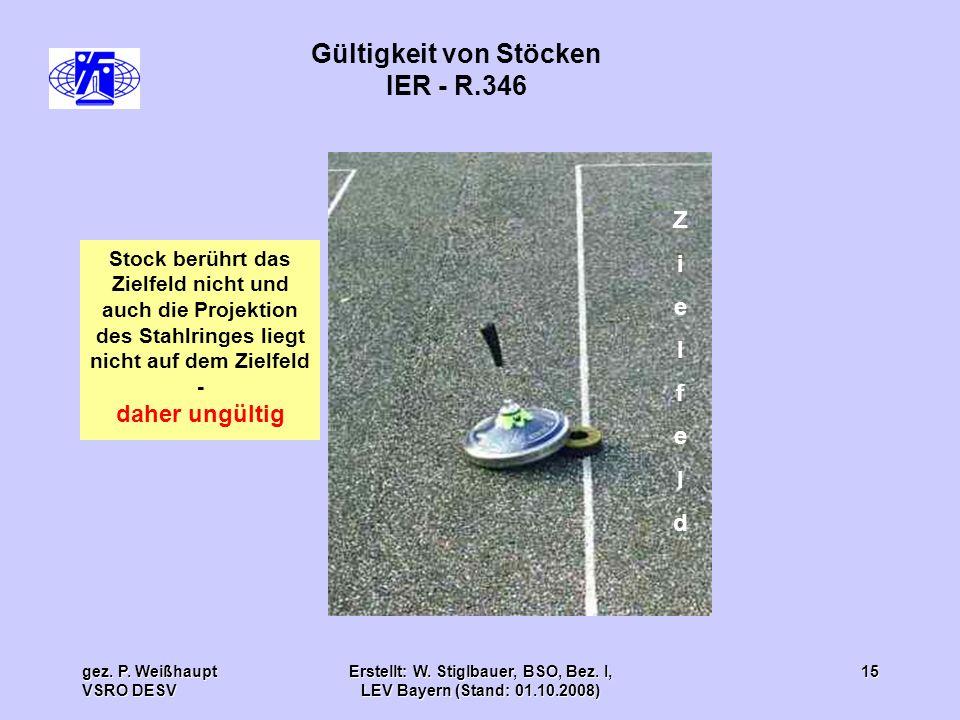gez. P. Weißhaupt VSRO DESV Erstellt: W. Stiglbauer, BSO, Bez. I, LEV Bayern (Stand: 01.10.2008) 15 Gültigkeit von Stöcken IER - R.346 ZielfeldZielfel