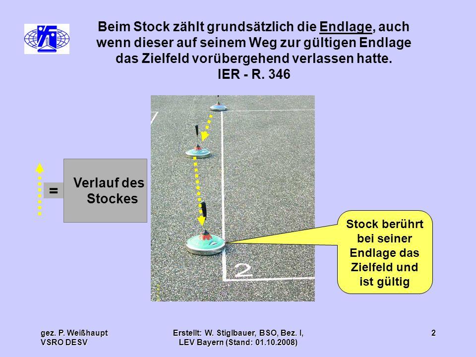 gez. P. Weißhaupt VSRO DESV Erstellt: W. Stiglbauer, BSO, Bez. I, LEV Bayern (Stand: 01.10.2008) 2 Verlauf des Stockes Beim Stock zählt grundsätzlich